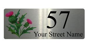 139 Personalised Address & Number Thistle Metal Aluminium Sign Plaque Door House