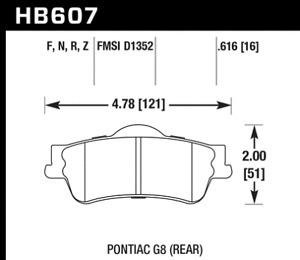 Hawk Disc Brake Pad-GT Rear for Chevrolet Caprice / SS / Pontiac G8 # HB607F.616