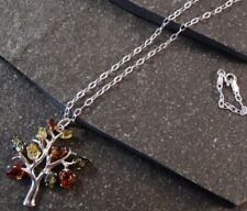 Baltic Multi-coloured Amber Tree Pendant Necklace - .925 Sterling Silver