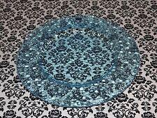 "Leonardo Designer Art Glass Platter Blue Bubble Look Plate 13"" Serving Dish NEW"