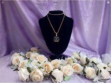 Lovely perfume bottle shaped pendant/long gold chain/black enamel/gift boxed....