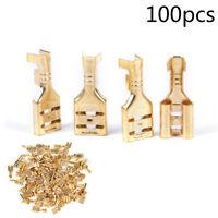 100 Pcs Gold Brass Car Speaker Female Spade Terminal Wire Connector 6.3mm Pip