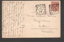 1911 Rhine River castle post card Italy Venezia to Sydenham Ontario Canada