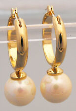 Gold 9mm Cream White Pearl Fixed Drop Fashion Creola Earrings 22ct Gold Plated