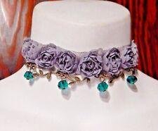 SMOKE & ABSINTHE gray lace mesh rose choker green beads necklace steampunk P3