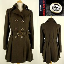 MISS SIXTY M60 Trench Coat Jacket XL Military Wool Double Breasted Olive Brown