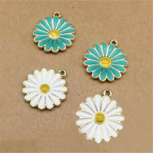10pcs White/Blue Enamel Chrysanthemum Flower Charms Pendant For DIY Jewelry