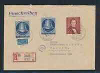 Berlin 1951, Mi. 74 + 78 Brief, portorichtiger R-Brief! Mi. 265,--