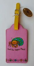 q HERMIT CRAB Find your happy place pink LUGGAGE TAG suitcase ID vegan leather