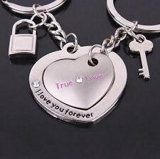 Ring Fashion Keyring Lover Gift Key 2Pcs Love Heart Couple Keychain Keyfob 2016