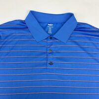Reebok Golf PlayDry Polo Shirt Men's 2XL XXL Short Sleeve Blue Striped Polyester