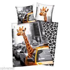 Bettwäsche Linon NEW York Safari Taxi mit Giraffe 135x200