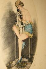Vtg Art Deco French Artist Proof Signed J Dorval Nude 3030 Pierrot Doll Framed