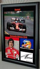 "Fernando Alonso F1 Ferrari Enmarcado Lona impresión firmada ""Gran Regalo"""