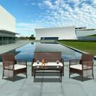 4 Pcs Rattan Garden Wicker Furniture Set Outdoor Garden Sofa Set /w Cushion Seat