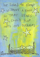 20121105 e9Art ACEO Stars Sleep Outsider Art Painting Folk Brut Expressionism