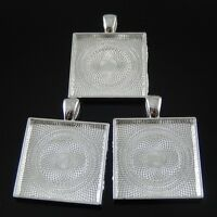 10pcs Silver Plated Alloy Square 25mm Cameo Setting Charms Pendant Trays 37630