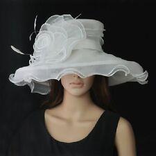 Elegante Cappello da donna in avorio BIANCO Organza Sposa Di Matrimonio