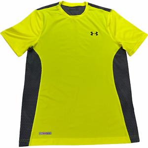 Under Armour Fitness Training Shirt Men Medium Yellow Black Fitted HeatGear Top