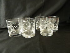 CRYSTAL ETCHED LEAVES/FLOWERS SIX OLD FASHIONED/WHISKY/SPIRIT GLASSES