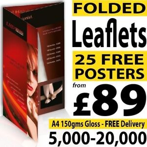 A5, A4 or A3 Folded colour Flyers / Leaflets / Menus on 150gms not 130gms