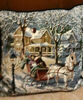 Vintage  Wool/velvet back Needlepoint Decorative  Tapestry Pillow