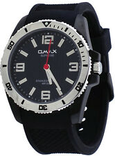 Omax Supreme SS566 Men's Black IP Stainless Steel Resin Band Analog Watch