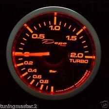 Manometro Strumento 52mm DEPO Pressione Turbo -1+2 BAR MOTORIZZATO Ambra/Bianco