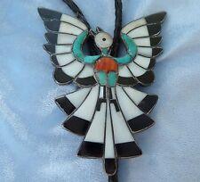 Vintage Inlayed Zuni Phoenix Bola by Dixon Shebola, Circa 1950's-60's