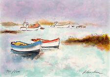 """HAND SIGNED Original Urbain HUCHET Limited Lithograph """"Two Canoes"""" Framed  COA"""