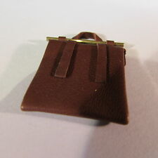 Dollhouse miniature brown leather music bag ~ 1/12th scale
