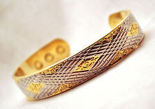 MENS 7 IN.100% COPPER SILVER & GOLD INDIAN ROPE MAGNETIC BANGLE / CUFF: 4 Pain!