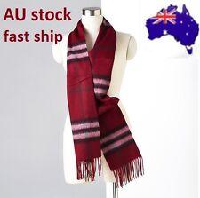 100% Merino Wool scarf women men winter warm Fashion Burgundy Red check unisex