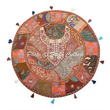 Ethnic Vintage Round Patchwork Floor Cushion Cover Couch Embroidered 32x32