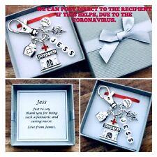 THANK YOU NURSE charm gift, carer, nursing, hospital, KEYRING, PERSONALISED