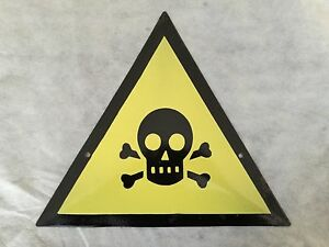 DANGER  Skull Crossed Bones Metal Enamel Plate Sign-Very RARE