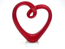 Extra Large Art Glass Red Heart Shaped Sculpture Figure