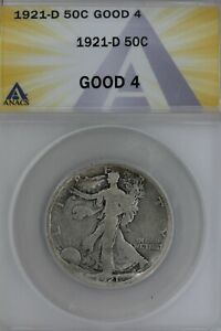 1921-D  .50  ANACS  G 4   Walking Liberty, Half Dollar