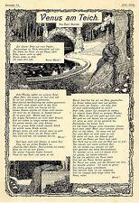 Carl Bulcke Poem: Venus on Pond historical Jewellery Sheet of 1902
