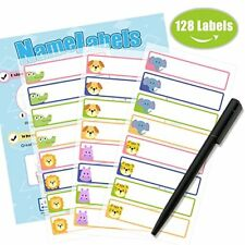 128PCS Kids School Name Labels Stickers Tag Daycare Waterproof Sticker Cartoon