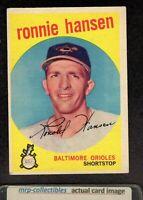 1959 Topps #444 Ron Hansen Baltimore Orioles Vintage Baseball ROOKIE Card VG/EX