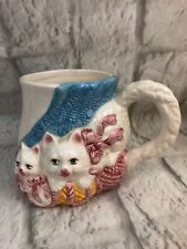 PMC 3D Kittens Vintage White Ceramic Coffee Mug Cup Collectible