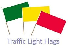 """Small Red, Yellow, Green """"TRAFFIC LIGHT"""" HAND WAVING FLAGS - on a Hand Held Flag"""