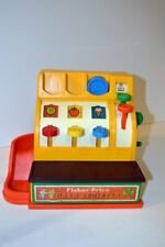 Vintage Fisher Price Cash Register w/1 coin - Bell Works/Drawer Opens