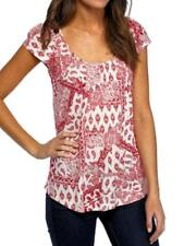 Vintage America Blues Women's Cross-Back Cap Sleeve Print Pullover Top Red/White