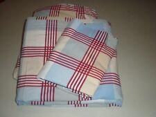 Pottery Barn Kids Pbk 3pc Full Sheet Set Plaid Red White Blue Tan Vintage