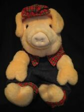 "Cute Stuff Toy Plush PIG in plaid and jumper 12"" - Great Gift"