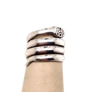 VTG Estate Sterling Silver Artisan Snake Size 4 Ring! 161