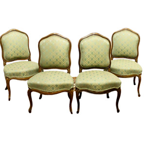 Antique Chairs, Side, 4 French Louis XV Style Upholstered Walnut,1800's, Green!!