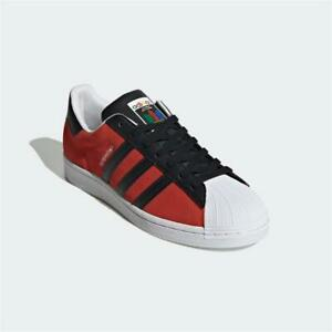 Adidas Superstar Trainers Red Black White Authentic Brand New